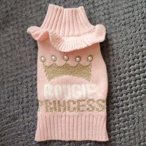 Cute dog sweater pink gold pearl. X-small